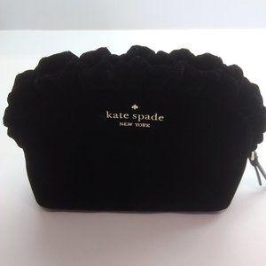 Kate Spade New Black Velvet Ruffled Cosmetic Bag